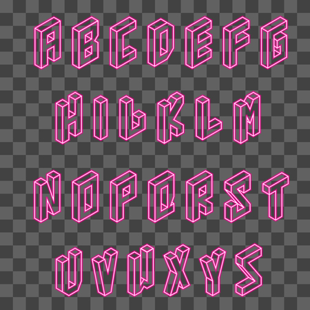 Isometric pink neon font vector on transparent background. Ilustrace