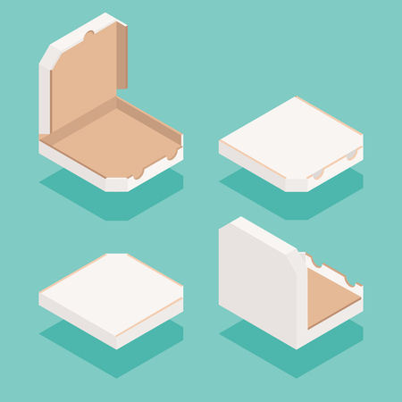 Isometric pizza order delivery boxes set vector.