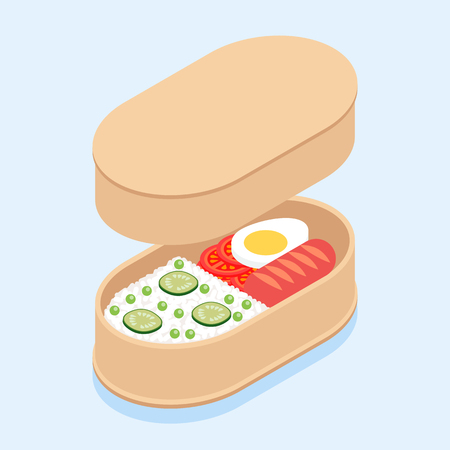 Japanese traditional lunch box bento with rice, sausage, tomatoes, egg and cucumbers.