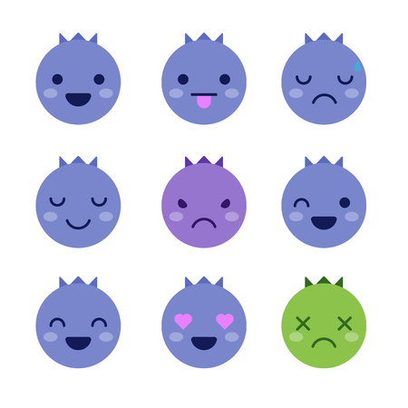 Cute minimalistic blueberry emoticons isolated on white background.