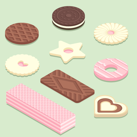 Isometric illustration of different biscuits. Sweet bakery products isolated on pastel green background.