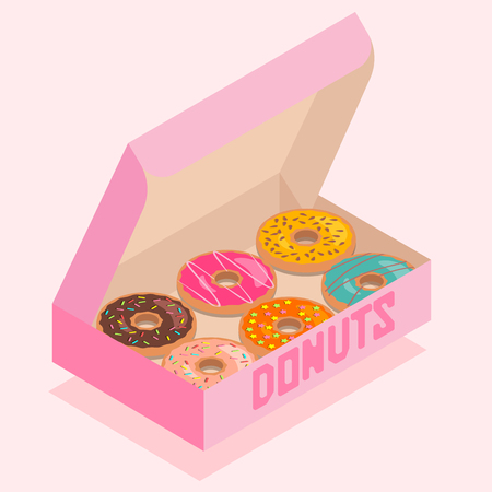 Isometric illustration of pink box with donuts. Ilustração