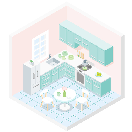 Light pastel turquoise kitchen furniture design illustration.