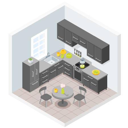 Dark modern kitchen furniture design illustration.
