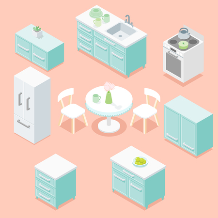 Light pastel turquoise kitchen furniture design set.	 Ilustrace