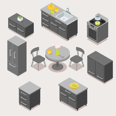Set di design di mobili da cucina moderni scuri.