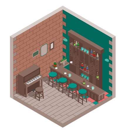 Isometric irish pub interior with bar and piano.	 Ilustrace