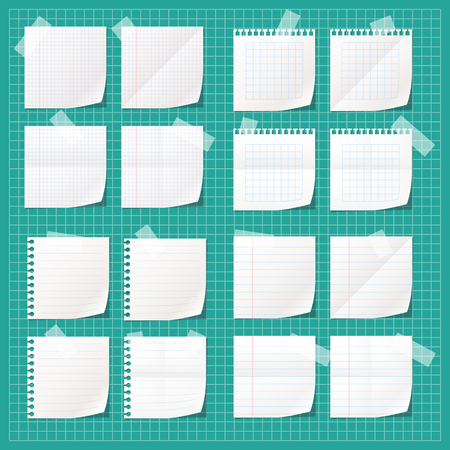 Set of white notes fixed with tape.