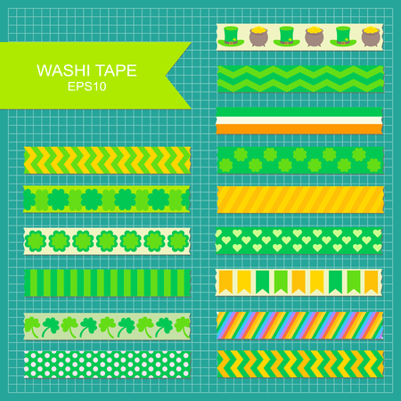 Set of St. Patricks Day decorarive washi tape stripes. Illustration