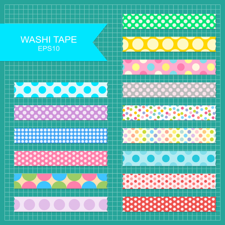 Set of cute colorful polka dot washi tape stripes.  Illustration