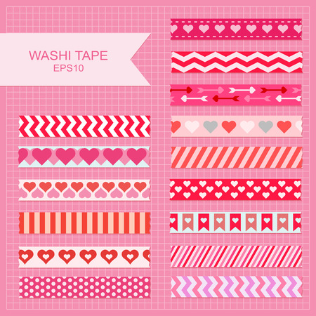 Cute Valentine's Day decorative washi tape strips. Ilustrace