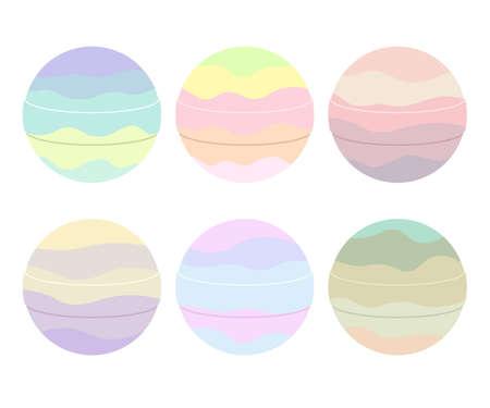 Bombas de baño coloridas lindas aisladas sobre fondo blanco. Ilustración de vector