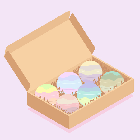 Colorful bath bombs packaged in carton box vector illustration. Illustration