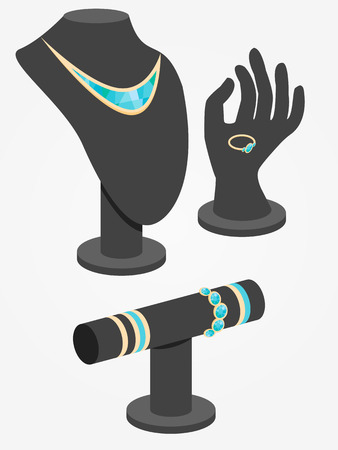 Isometric jewelry display mannequins vector illustration.