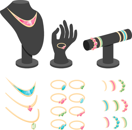 Isometric jewelry display mannequins set vector illustration.