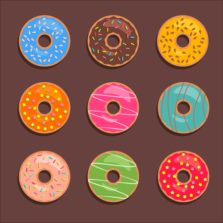Donuts set for match three game. Vector flat donut icons.