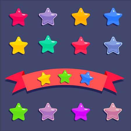 Cartoon stars for mobile game isolated on dark blue background. Achievement stars on red ribbon.