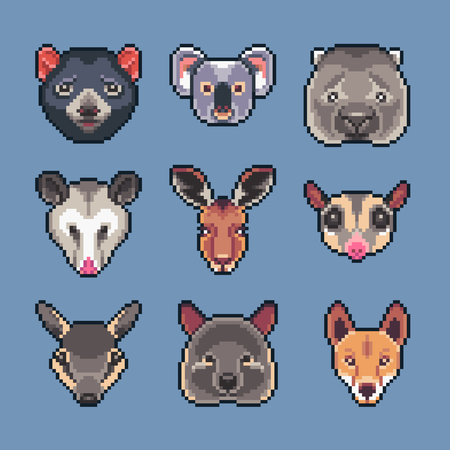Pixel art vector Australian animals icons set.