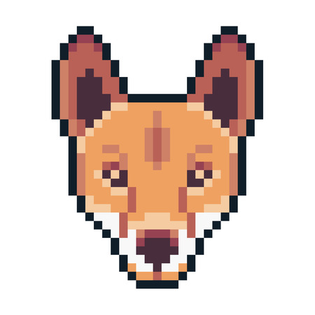 Pixel art dingo icon isolated on white background.  イラスト・ベクター素材
