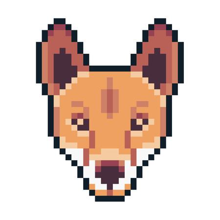 Pixel art dingo icon isolated on white background. Illustration