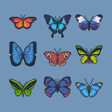 Pixel art vector set of different butterflies and moth.