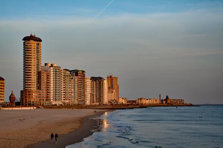 flushing: Flushing the Netherlands Boulevard Beach skyline Sardijntoren sea Stock Photo
