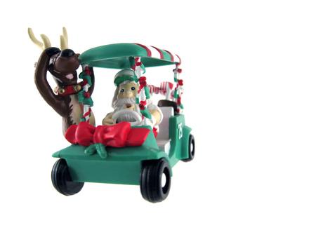 cart: Santa w reindeer riding golf cart Christmas ornament