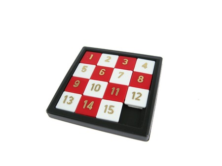 A solved number slide game photo