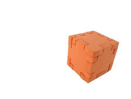 Puzzle cube, completed Banco de Imagens