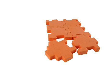 6-piece puzzle with last piece detached Banco de Imagens
