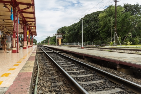Railway at Hua-hin Railway Station, Thailand  photo