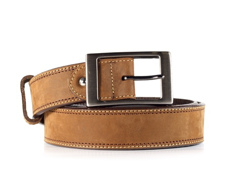 Leather belt for men on white background4 photo
