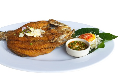 silver perch: Fried white perch Fish with Fish sauce, delicious thai food. Stock Photo
