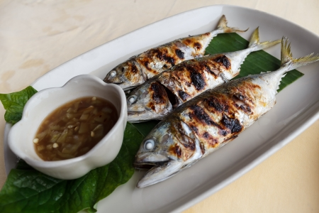 Grilled scomber fish with special fish sauce. photo