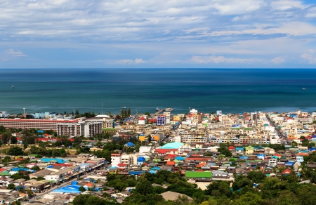 bird s eye: Bird s eye view of Hua-hin City, Prachuapkhirikhan Province, Thailand  Stock Photo