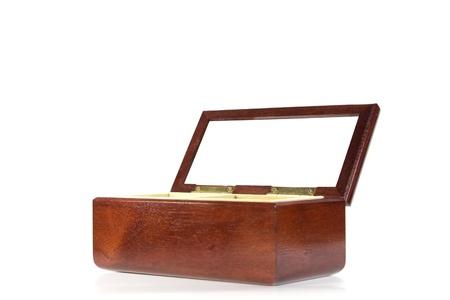 Dark brown wood box isolated on white background  photo