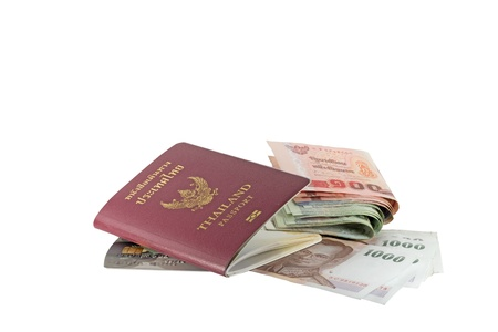Thailand passport and money isolated on white background  photo