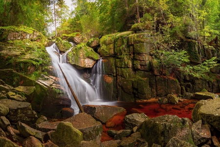 Black Creek waterfall in the Jizera Mountains, Czech Republik