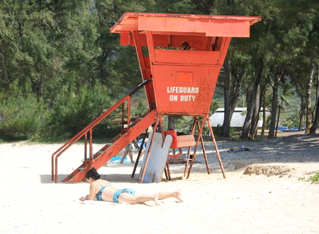 Lifeguard box on Waimanalo Beach, Hawaii 写真素材