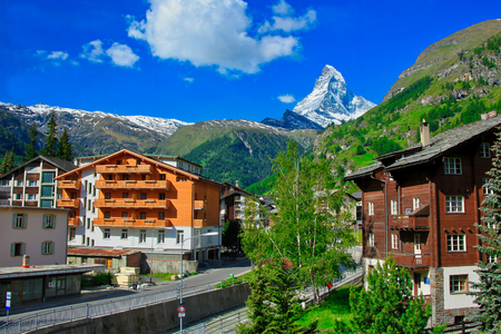 Zermatt is famed as a mountaineering and ski resort of the Swiss Alps