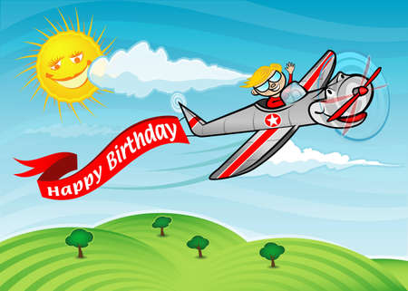 A boy flying an airplane with a banner that says  Happy Birthday  Vector