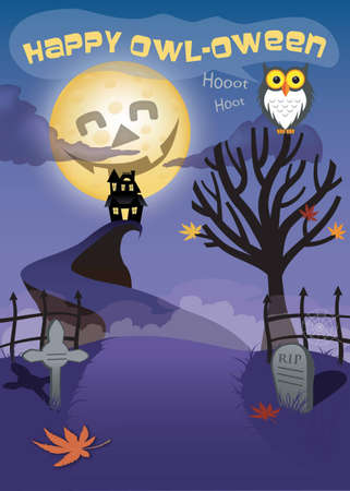 night: Halloween scene with a moon, owl a grave yared