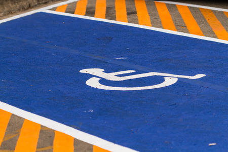 a parking lot for the disabled Stock Photo