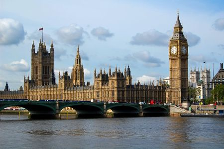 View of the Houses of Parliament across the river Thames Stock Photo