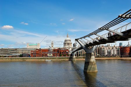 A view of St Paul Cathedral including the Millennium Bridge photo