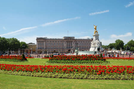 clear day: Buckingham Palace and gardens in a clear day Stock Photo