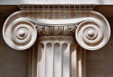 scrolling: Ionic column capital with scrolling volutes