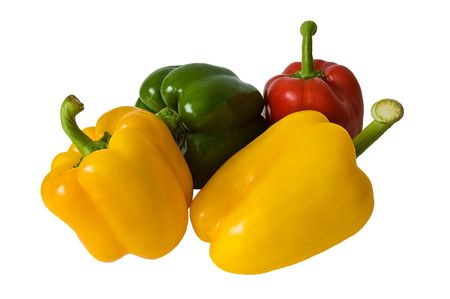 Yellow,red and green peppers isolated on a white background photo