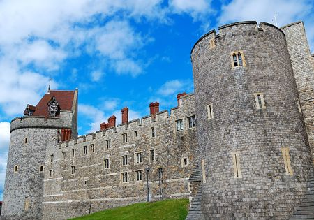 nebulous: Walls and Tower of Windsor Castle in England Stock Photo