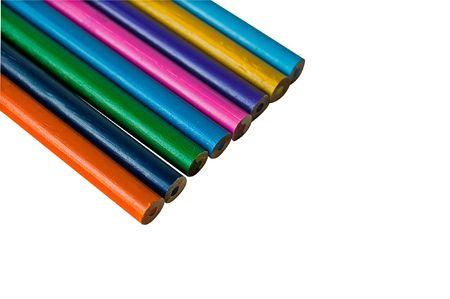 Set of color pencils isolated on white photo